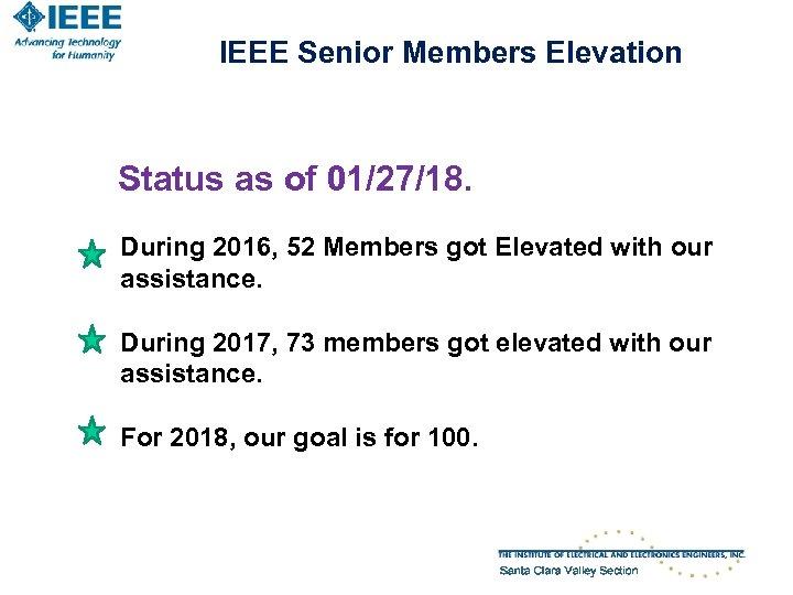 IEEE Senior Members Elevation Status as of 01/27/18. During 2016, 52 Members got Elevated