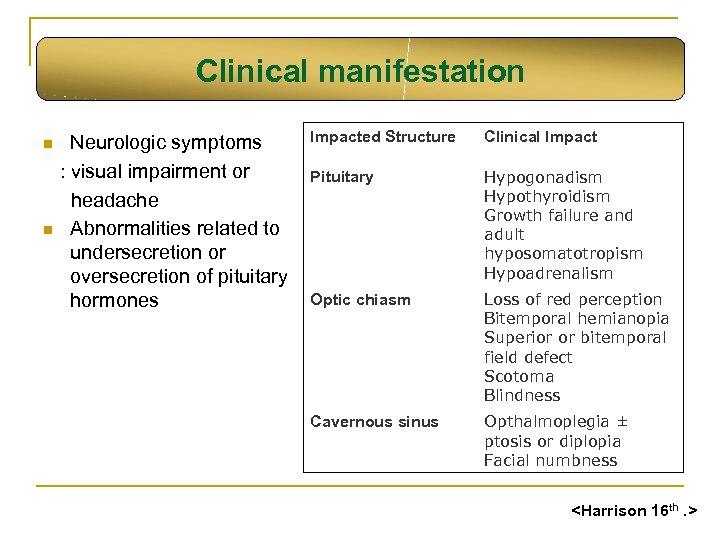 Clinical manifestation n n Neurologic symptoms : visual impairment or headache Abnormalities related to