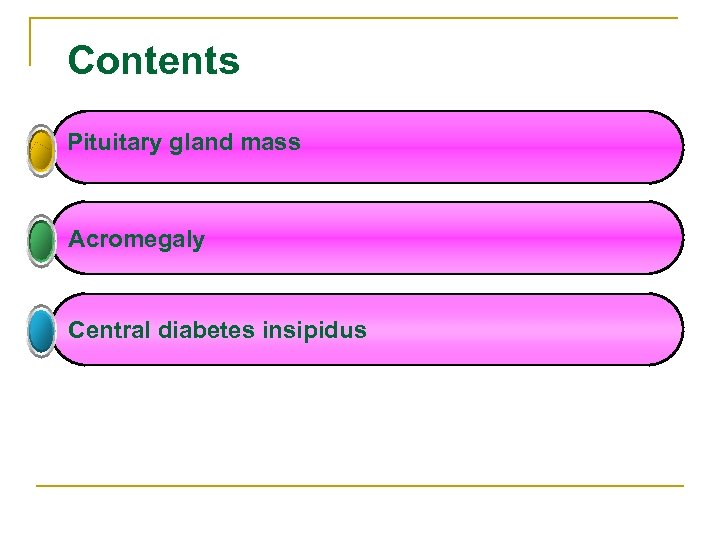 Contents Pituitary gland mass Acromegaly Central diabetes insipidus