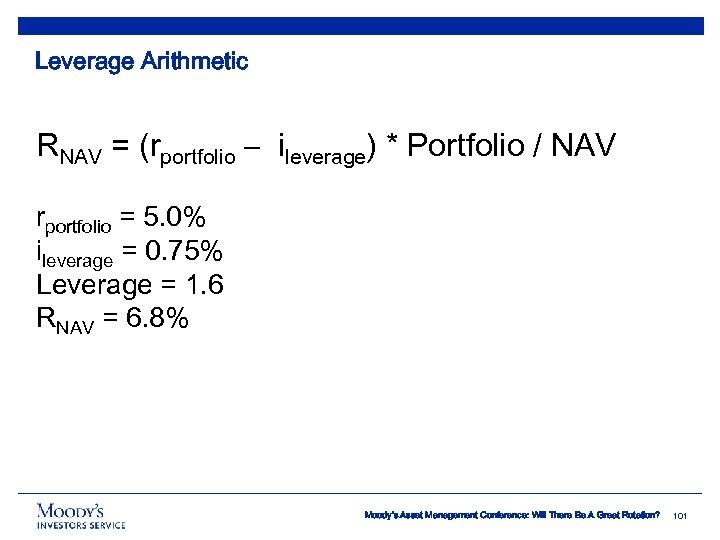 Leverage Arithmetic RNAV = (rportfolio – ileverage) * Portfolio / NAV rportfolio = 5.