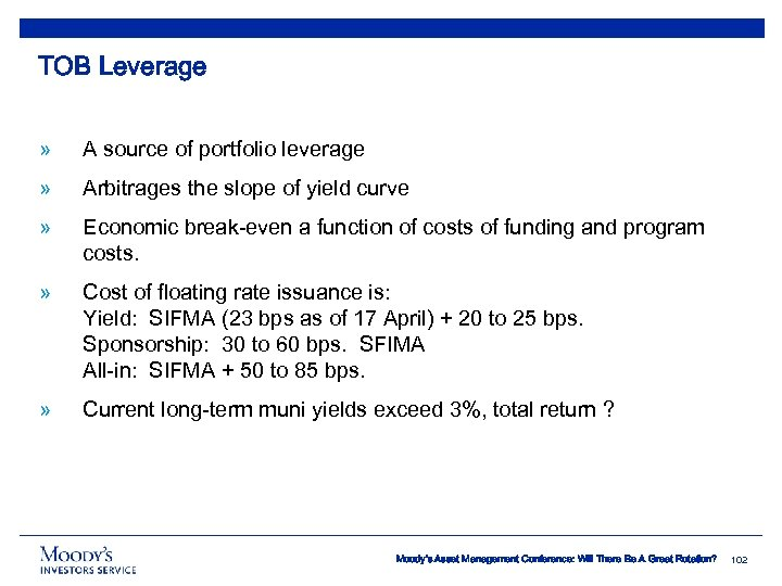 TOB Leverage » A source of portfolio leverage » Arbitrages the slope of yield
