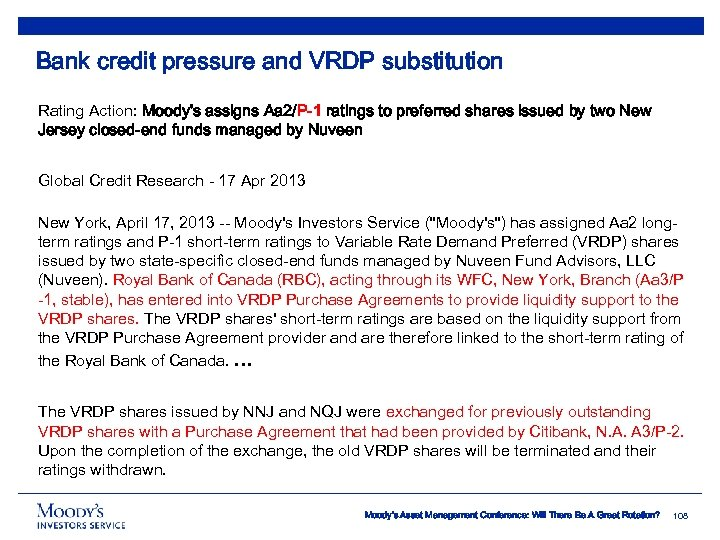 Bank credit pressure and VRDP substitution Rating Action: Moody's assigns Aa 2/P-1 ratings to