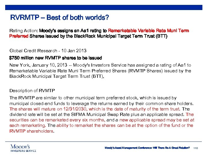 RVRMTP – Best of both worlds? Rating Action: Moody's assigns an Aa 1 rating