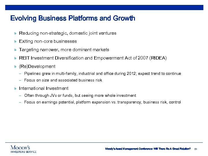 Evolving Business Platforms and Growth » Reducing non-strategic, domestic joint ventures » Exiting non-core