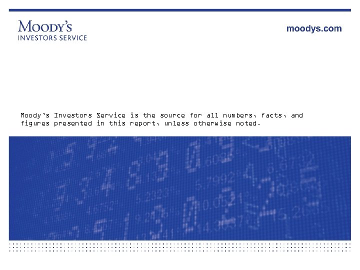 Moody's Investors Service is the source for all numbers, facts, and figures presented in