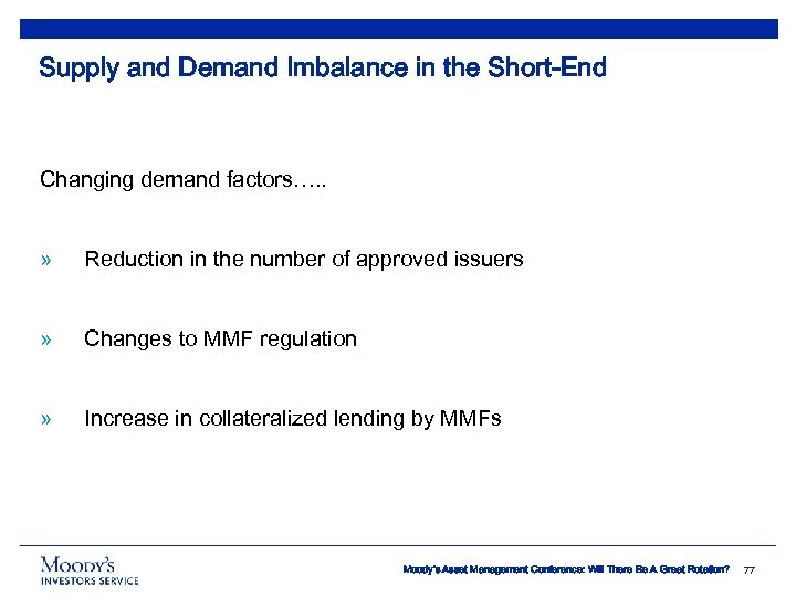 Supply and Demand Imbalance in the Short-End Changing demand factors…. . » Reduction in