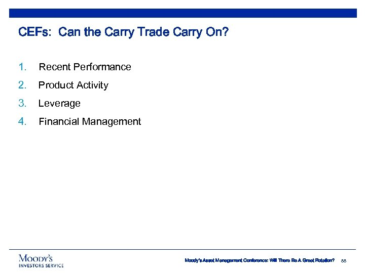 CEFs: Can the Carry Trade Carry On? 1. Recent Performance 2. Product Activity 3.