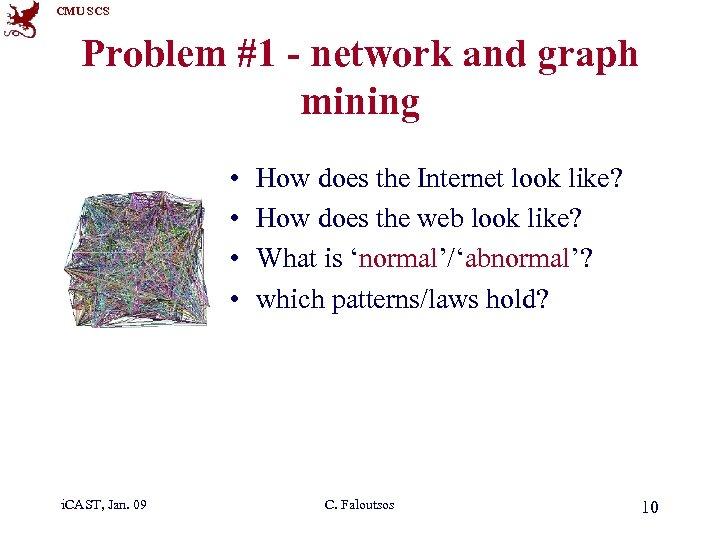 CMU SCS Problem #1 - network and graph mining • • i. CAST, Jan.