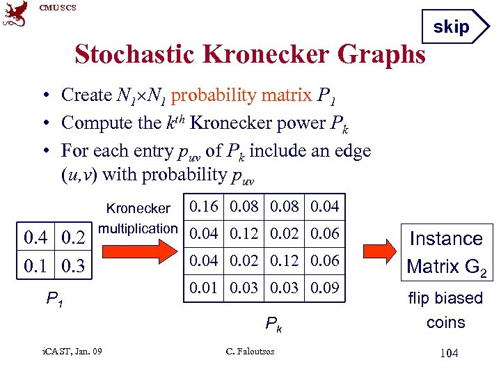 CMU SCS skip Stochastic Kronecker Graphs • Create N 1 probability matrix P 1