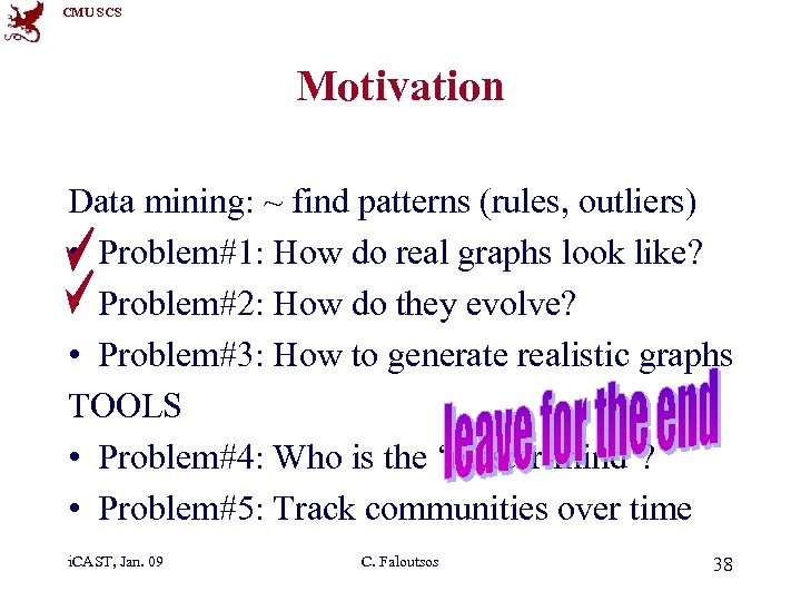 CMU SCS Motivation Data mining: ~ find patterns (rules, outliers) • Problem#1: How do
