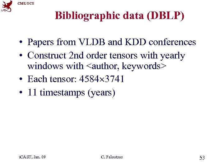 CMU SCS Bibliographic data (DBLP) • Papers from VLDB and KDD conferences • Construct