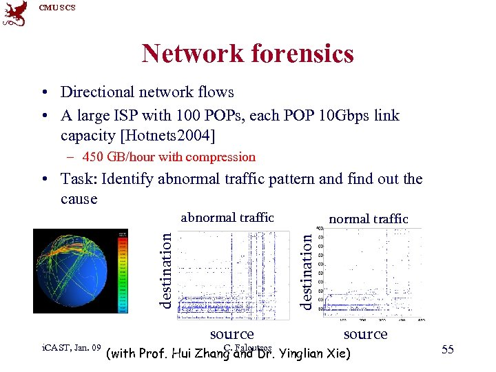 CMU SCS Network forensics • Directional network flows • A large ISP with 100