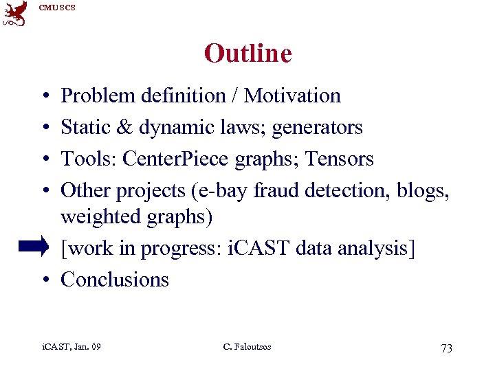 CMU SCS Outline • • Problem definition / Motivation Static & dynamic laws; generators