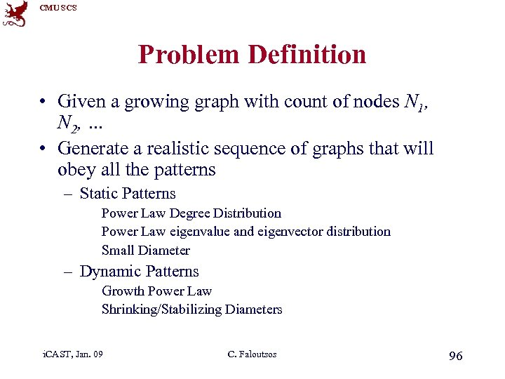 CMU SCS Problem Definition • Given a growing graph with count of nodes N