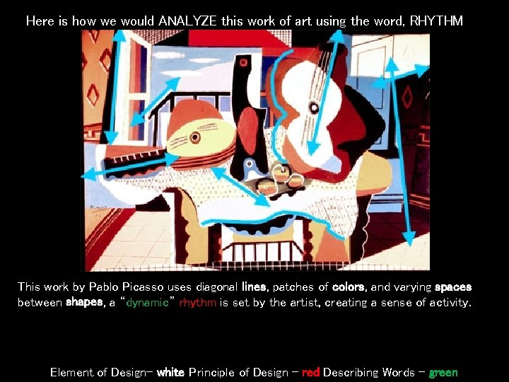 Here is how we would ANALYZE this work of art using the word, RHYTHM