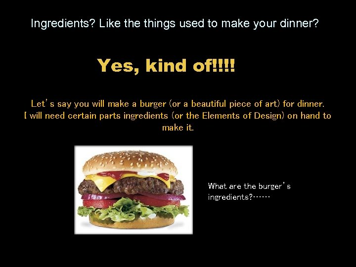 Ingredients? Like things used to make your dinner? Yes, kind of!!!! Let's say you