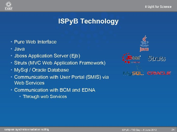 ISPy. B Technology • • • Pure Web Interface Java Jboss Application Server (Ejb)