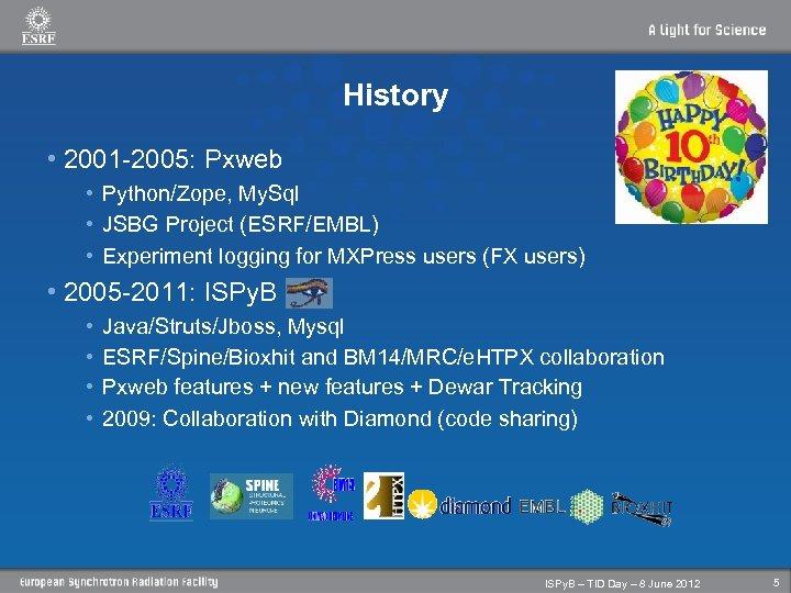 History • 2001 -2005: Pxweb • Python/Zope, My. Sql • JSBG Project (ESRF/EMBL) •