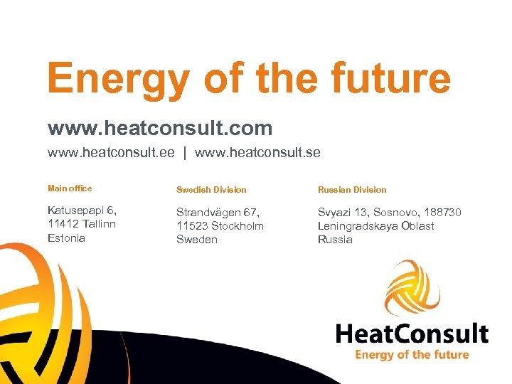 Energy of the future www. heatconsult. com www. heatconsult. ee   www. heatconsult. se
