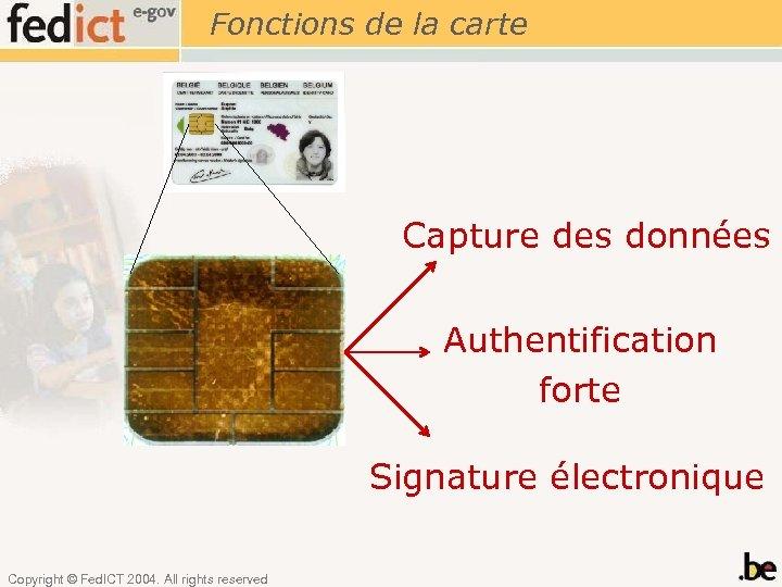 Fonctions de la carte Capture des données Authentification forte Signature électronique Copyright © Fed.