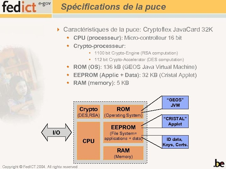 Spécifications de la puce 4 Caractéristiques de la puce: Cryptoflex Java. Card 32 K