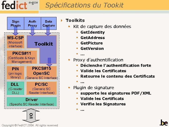 Spécifications du Tookit Sign Plugin Auth Proxy Data Capture MS-CSP (Microsoft interface) Toolkit PKCS#11
