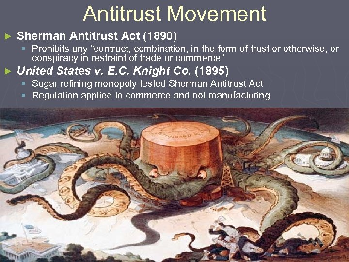 """Antitrust Movement ► Sherman Antitrust Act (1890) § Prohibits any """"contract, combination, in the"""