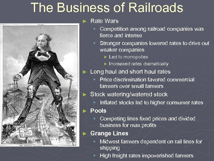 The Business of Railroads ► Rate Wars § Competition among railroad companies was fierce