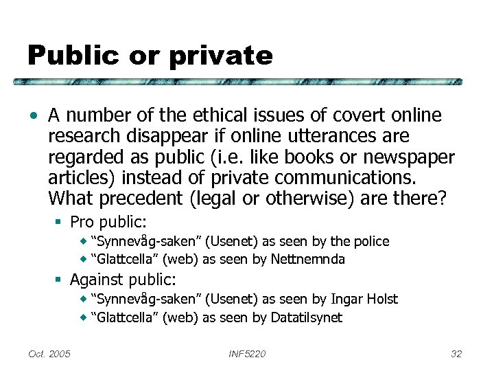 Public or private • A number of the ethical issues of covert online research