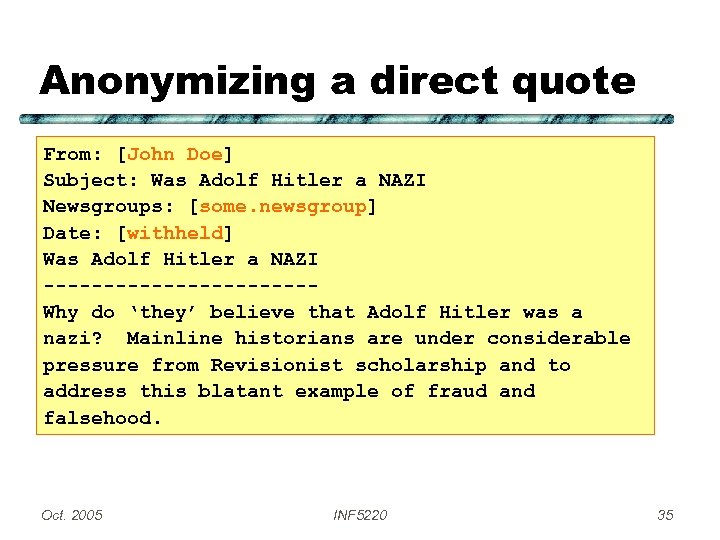 Anonymizing a direct quote From: [John Doe] Subject: Was Adolf Hitler a NAZI Newsgroups: