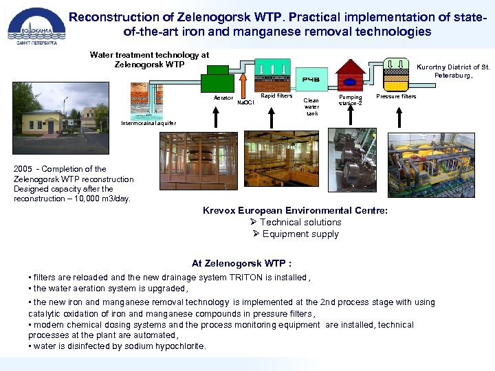 Reconstruction of Zelenogorsk WTP. Practical implementation of stateof-the-art iron and manganese removal technologies Water