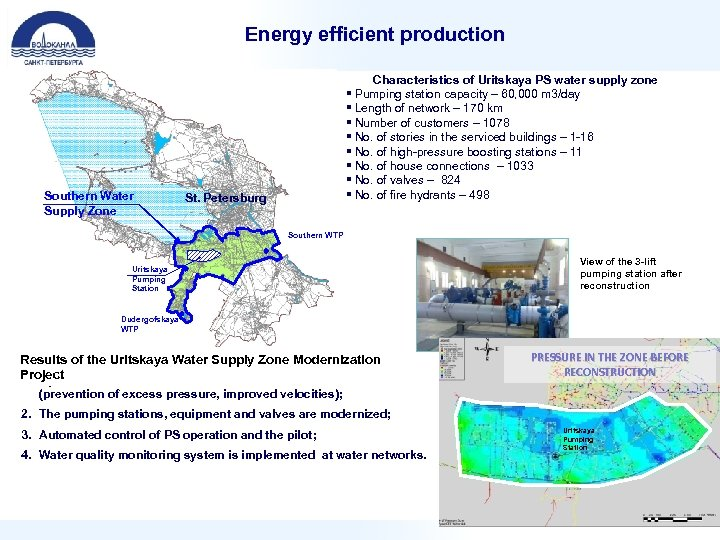 Energy efficient production Southern Water Supply Zone Characteristics of Uritskaya PS water supply zone