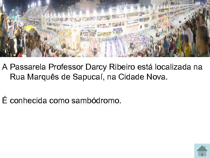 A Passarela Professor Darcy Ribeiro está localizada na Rua Marquês de Sapucaí, na Cidade