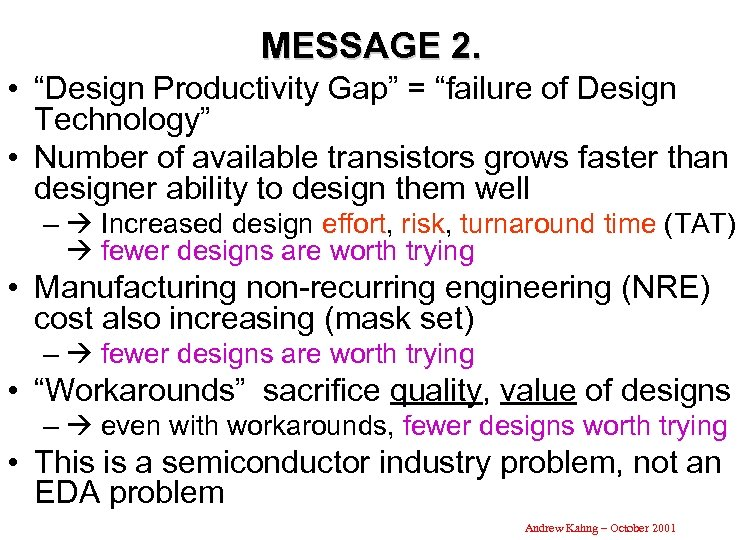 "MESSAGE 2. • ""Design Productivity Gap"" = ""failure of Design Technology"" • Number of"