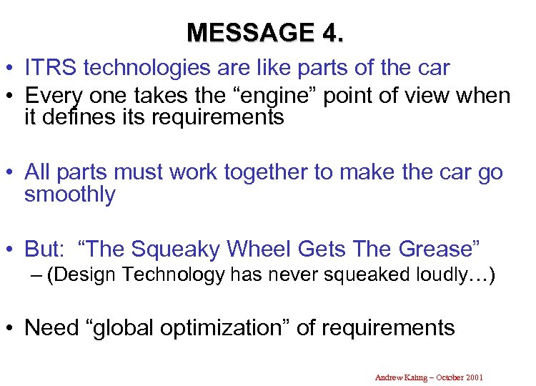 MESSAGE 4. • ITRS technologies are like parts of the car • Every one