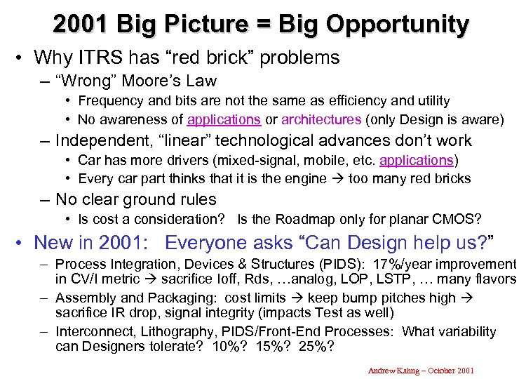 "2001 Big Picture = Big Opportunity • Why ITRS has ""red brick"" problems –"