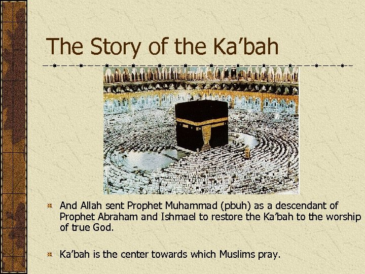 The Story of the Ka'bah And Allah sent Prophet Muhammad (pbuh) as a descendant
