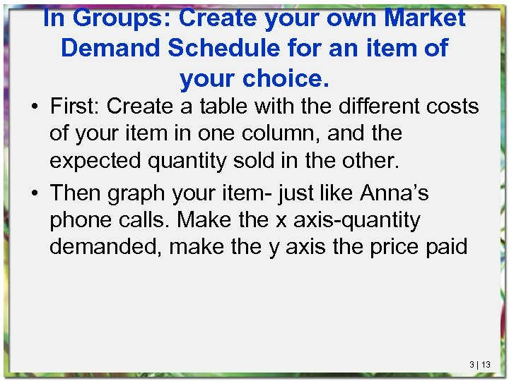 In Groups: Create your own Market Demand Schedule for an item of your choice.