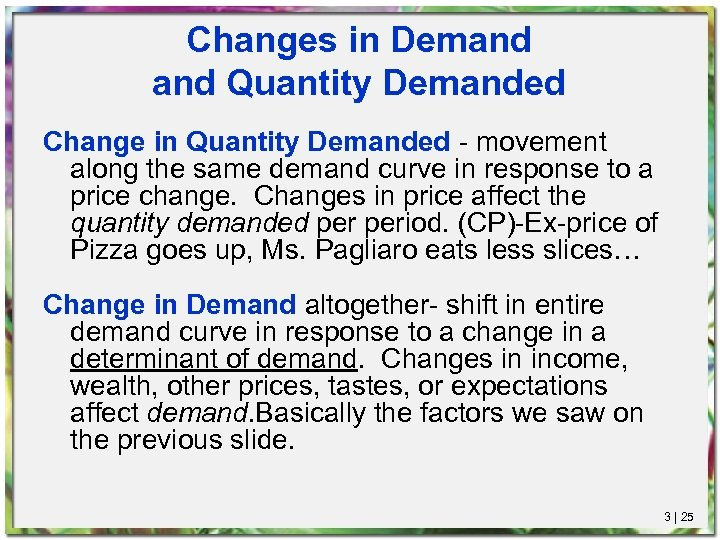 Changes in Demand Quantity Demanded Change in Quantity Demanded - movement along the same