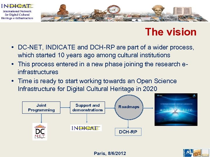 The vision • DC-NET, INDICATE and DCH-RP are part of a wider process, which