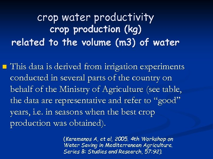 crop water productivity crop production (kg) related to the volume (m 3) of water