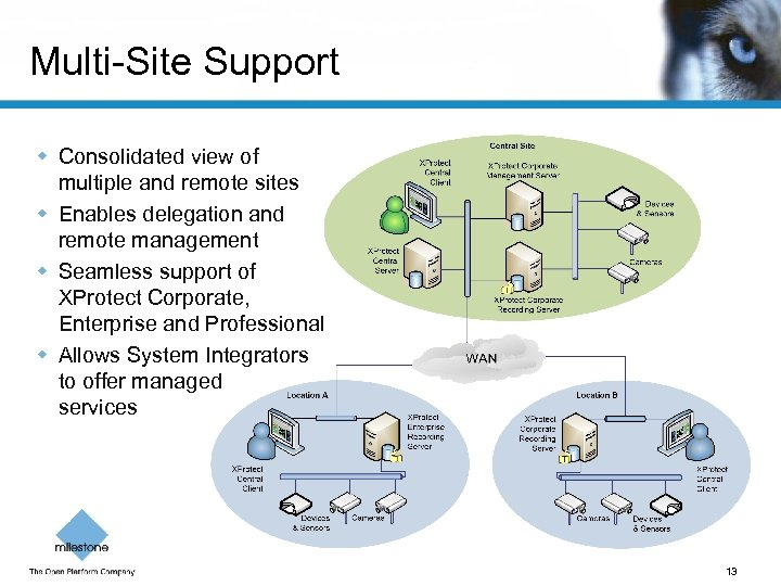 Multi-Site Support w Consolidated view of multiple and remote sites w Enables delegation and