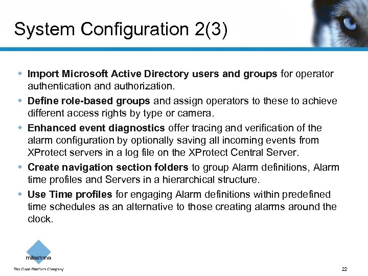System Configuration 2(3) w Import Microsoft Active Directory users and groups for operator authentication
