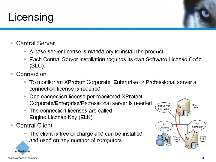 Licensing w Central Server w A base server license is mandatory to install the