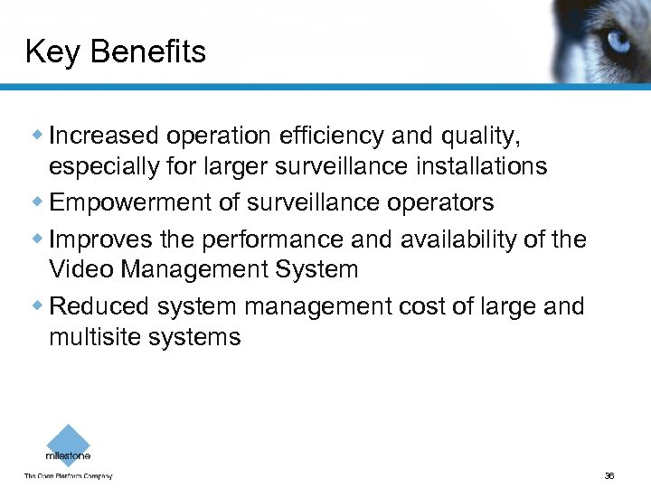 Key Benefits w Increased operation efficiency and quality, especially for larger surveillance installations w