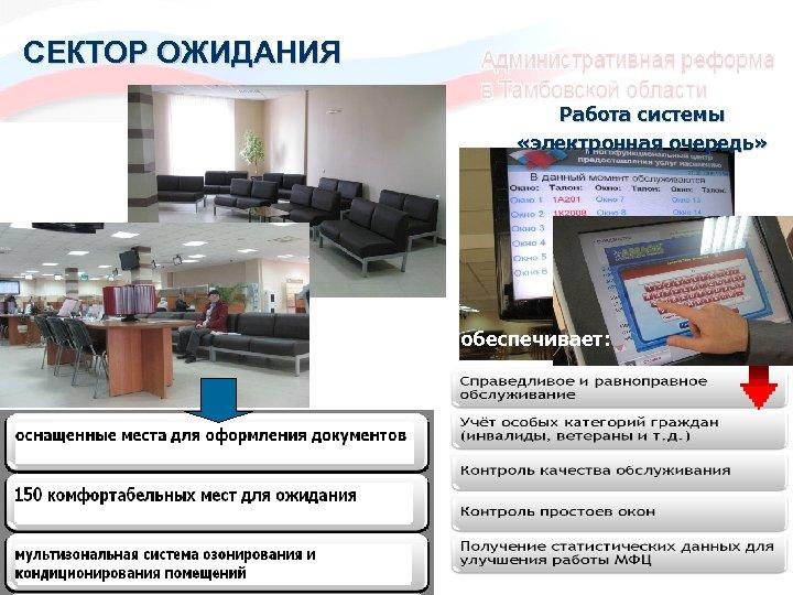 СЕКТОР ОЖИДАНИЯ Работа системы «электронная очередь» обеспечивает: