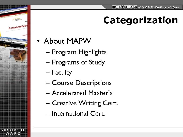 Categorization • About MAPW – Program Highlights – Programs of Study – Faculty –