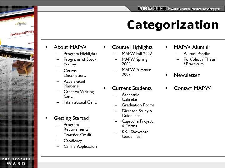 Categorization • About MAPW – – – – • Program Highlights Programs of Study