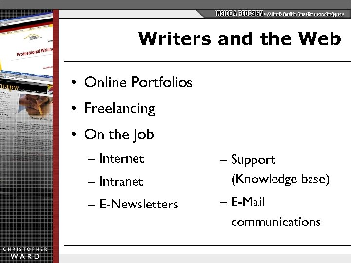 Writers and the Web • Online Portfolios • Freelancing • On the Job –