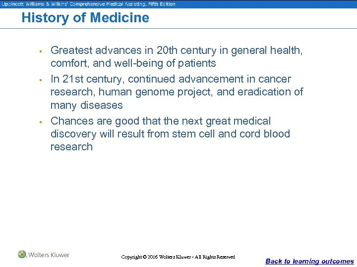 History of Medicine § § § Greatest advances in 20 th century in general